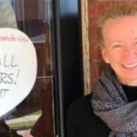 Suzanne Bone Displays a White Heart on her door